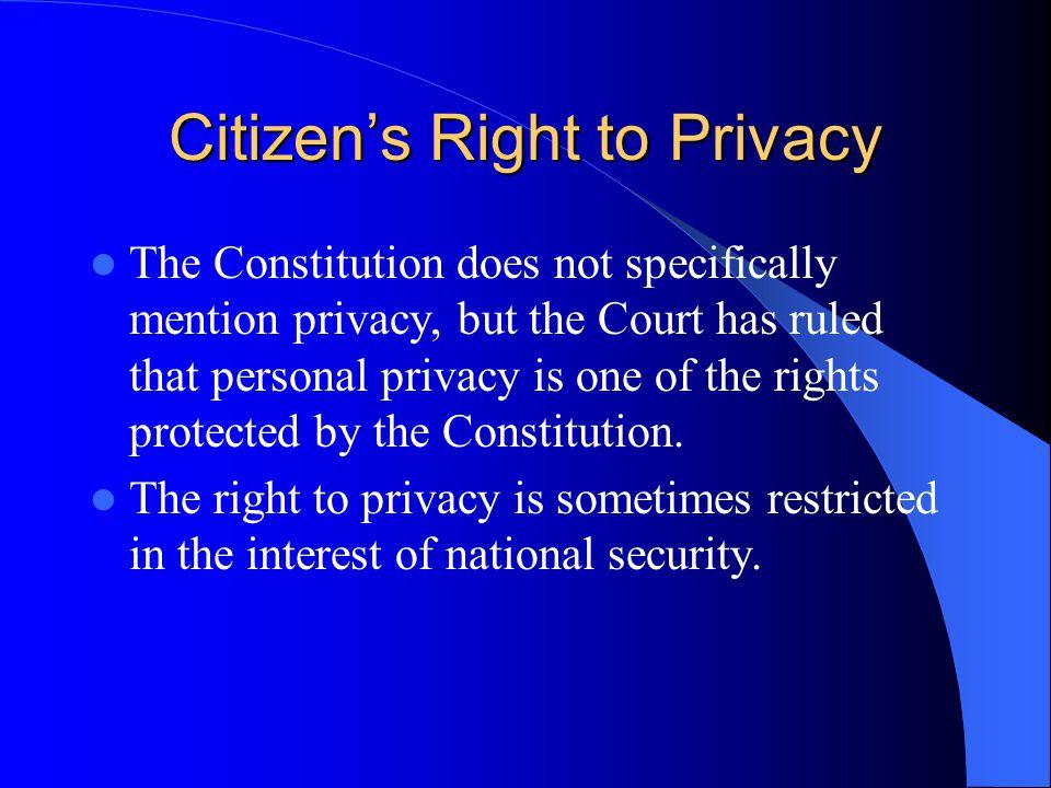 Citizen's Right to Privacy