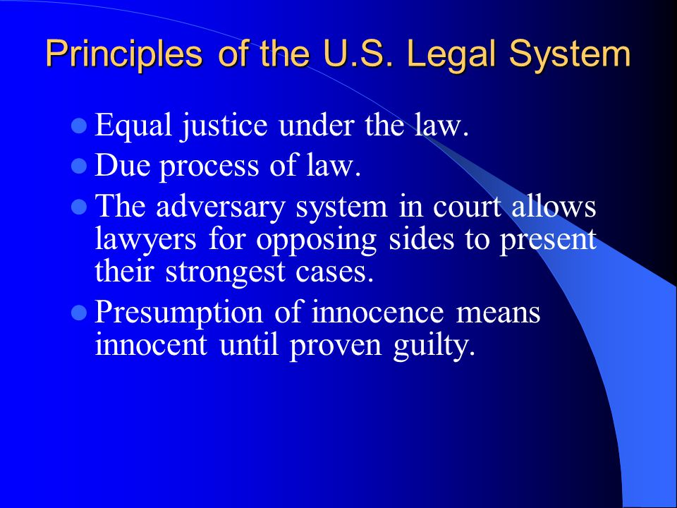 Principles of the U.S. Legal System