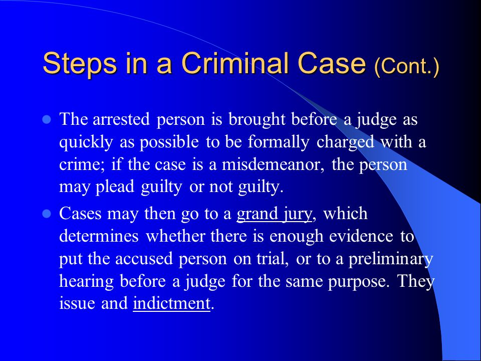 Steps in a Criminal Case (Cont.)
