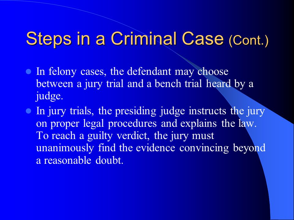 Steps in a Criminal Case (Cont.)