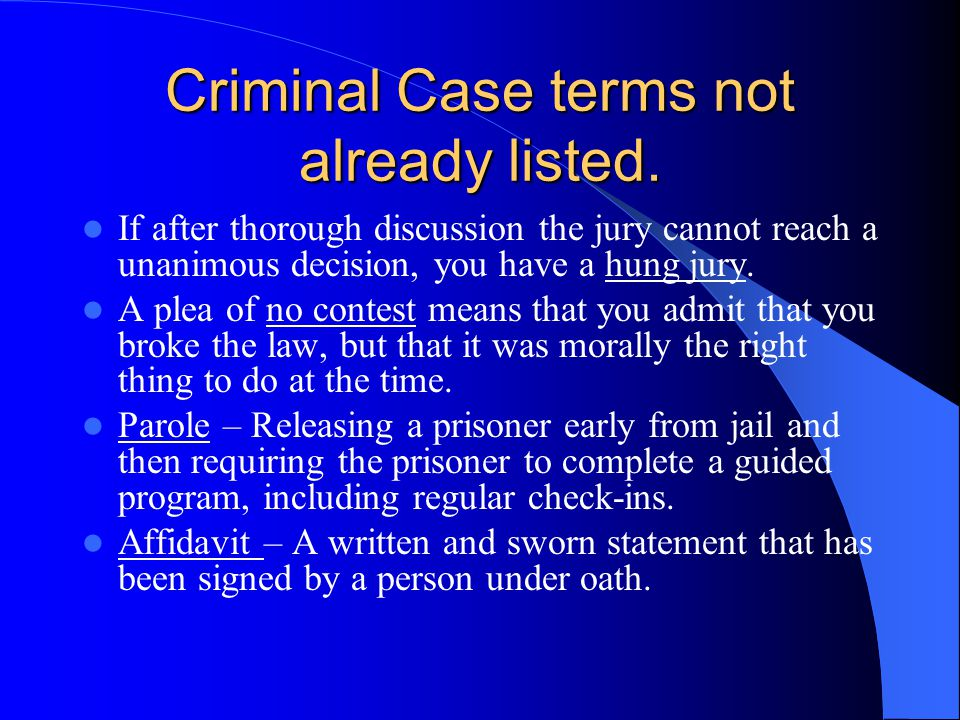 Criminal Case terms not already listed.