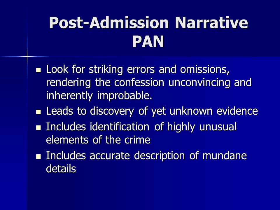 Post-Admission Narrative PAN