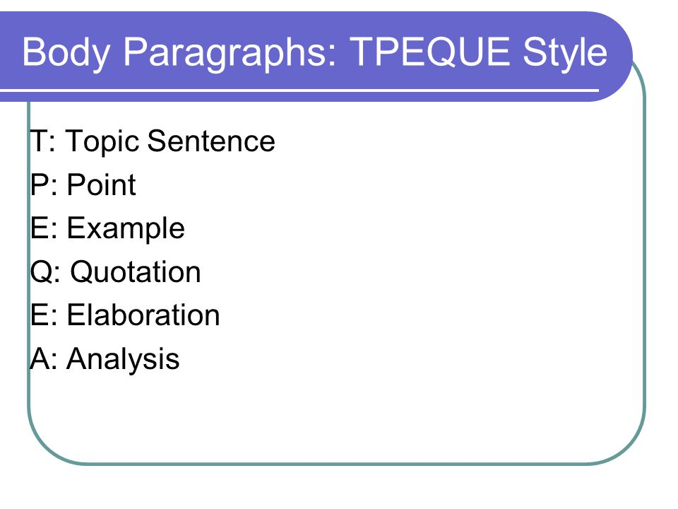 Body Paragraphs: TPEQUE Style