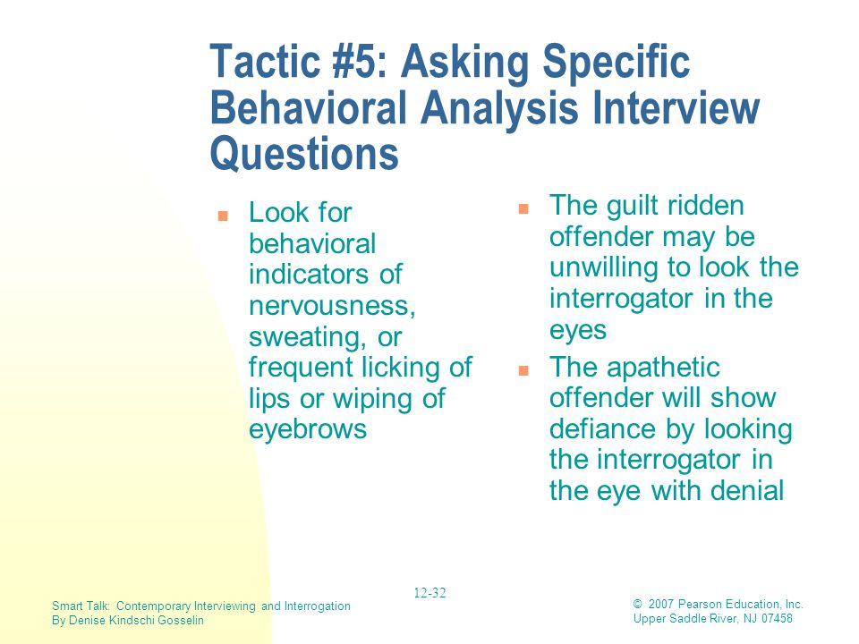 Tactic #5: Asking Specific Behavioral Analysis Interview Questions