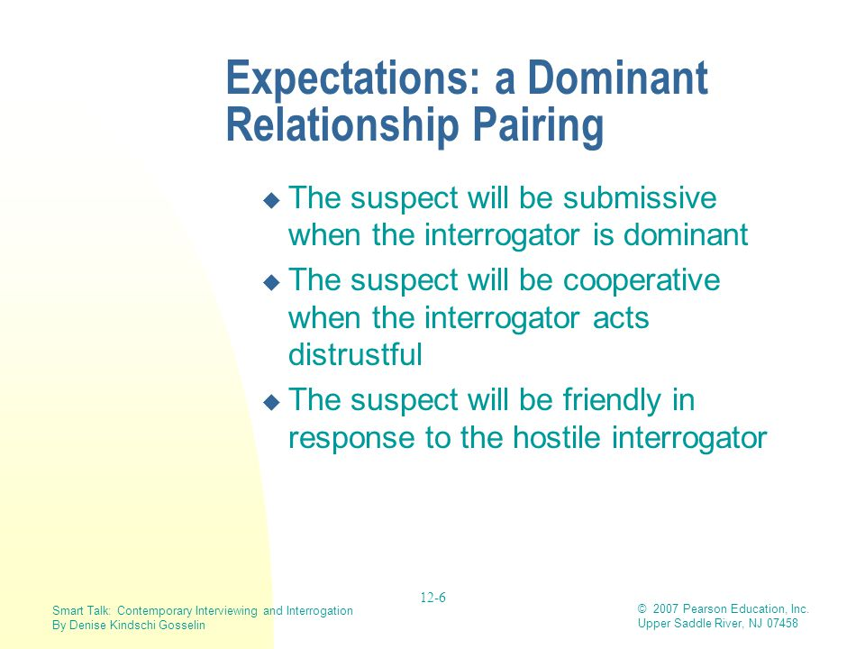 Expectations: a Dominant Relationship Pairing
