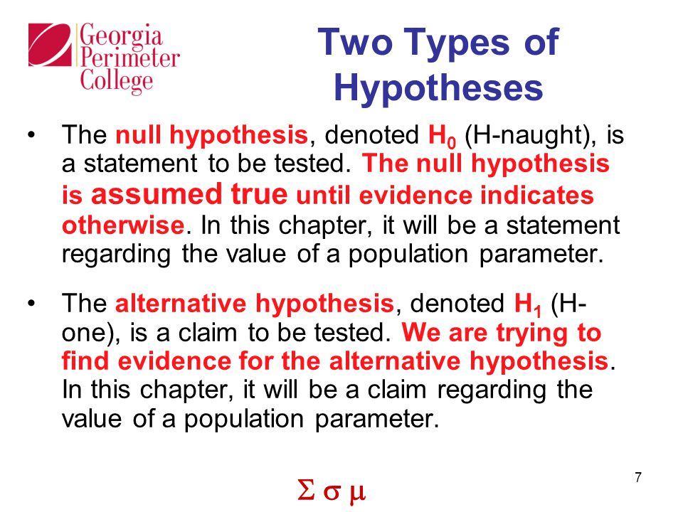 Two Types of Hypotheses