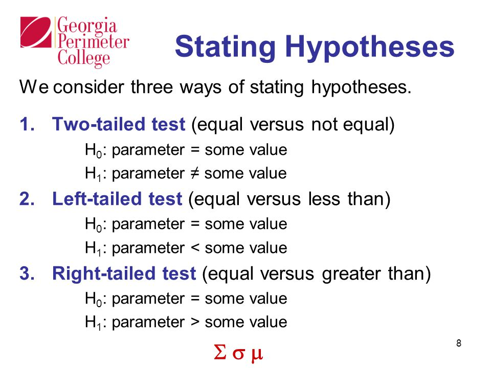 Stating Hypotheses We consider three ways of stating hypotheses.