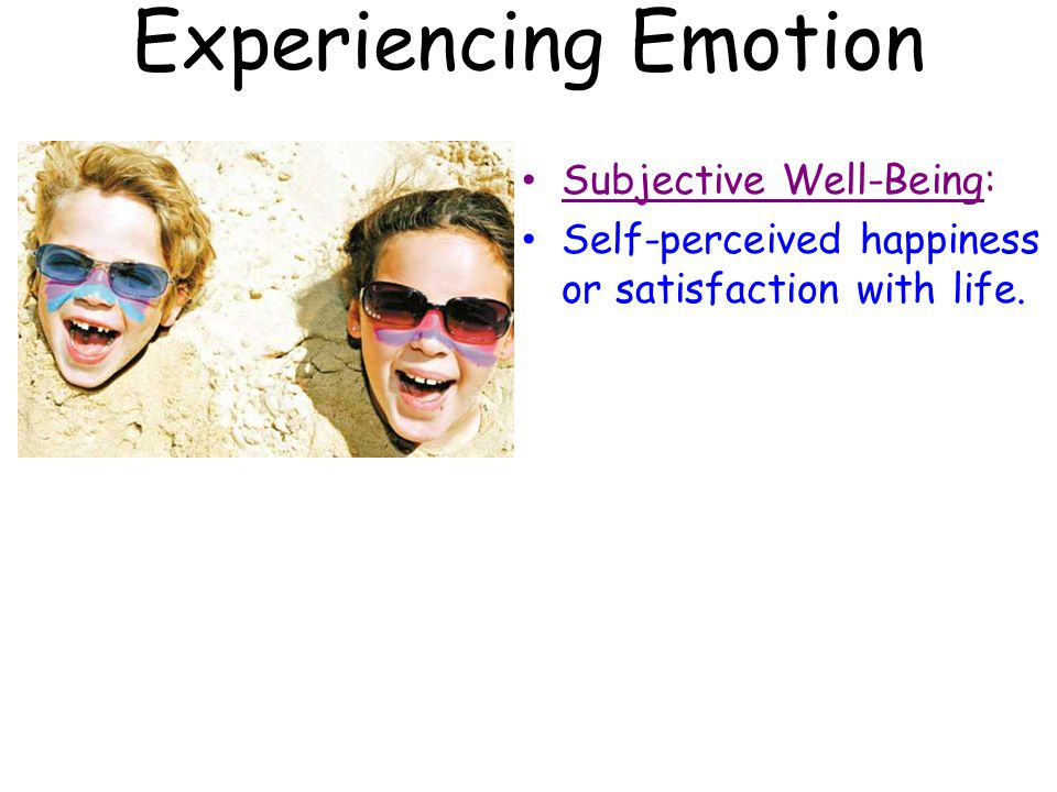 Experiencing Emotion Subjective Well-Being: