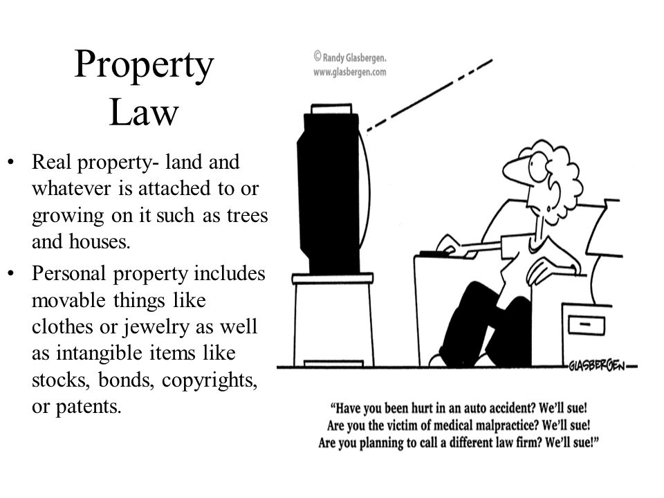 Property Law Real property- land and whatever is attached to or growing on it such as trees and houses.