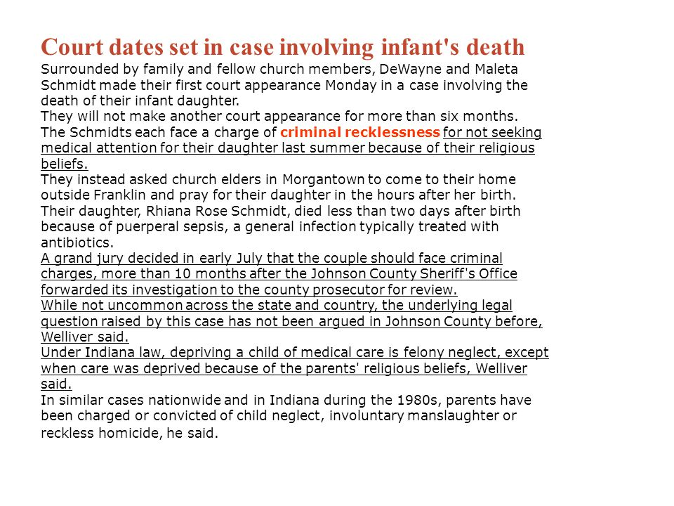 Court dates set in case involving infant s death