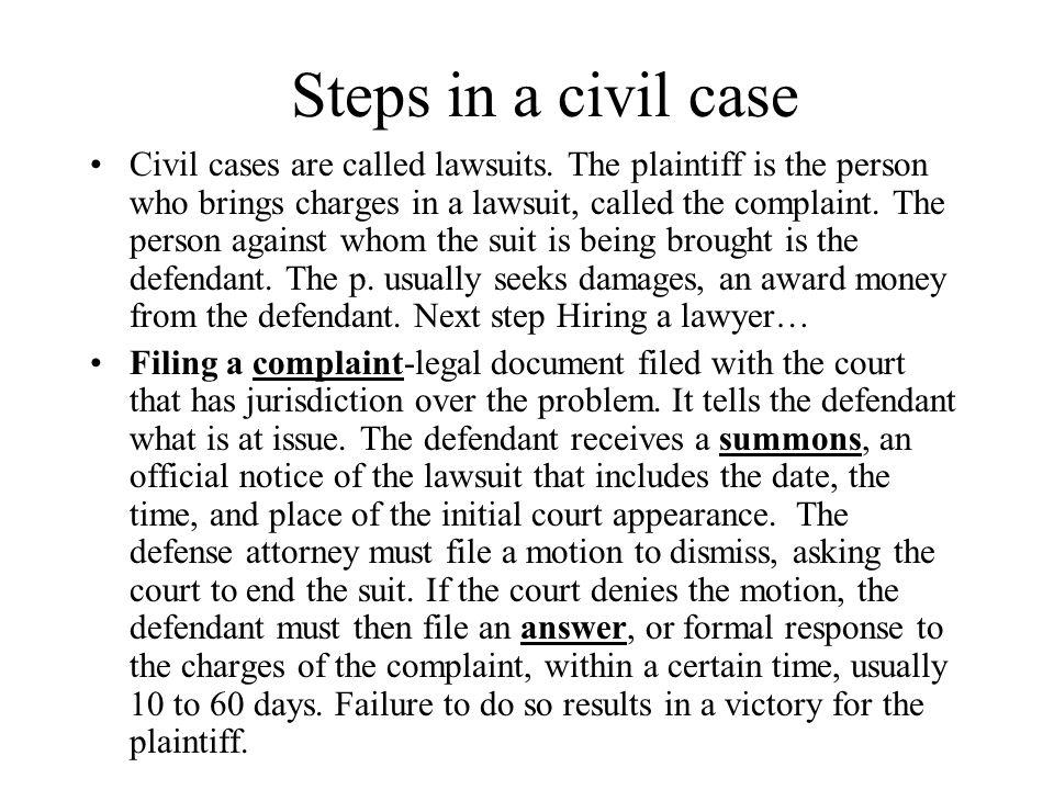 Steps in a civil case