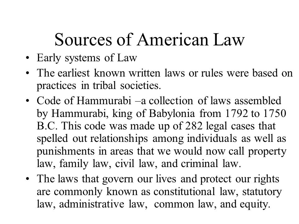 Sources of American Law