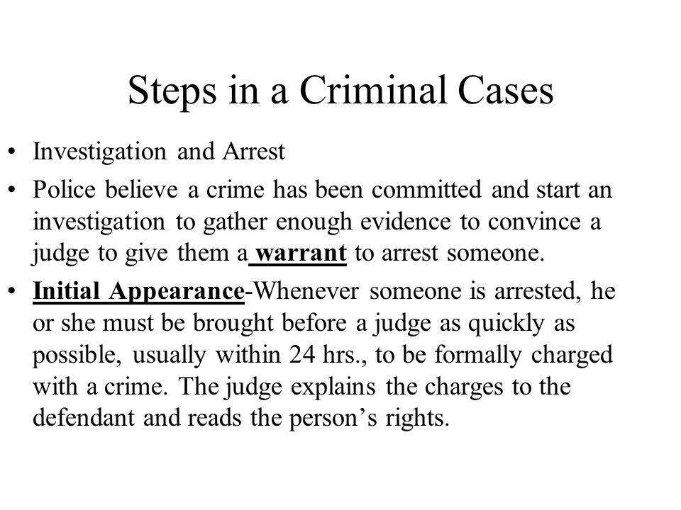 Steps in a Criminal Cases