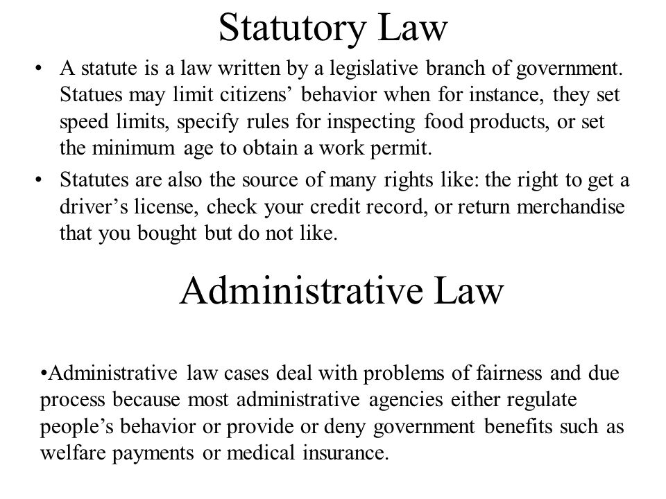 Statutory Law Administrative Law