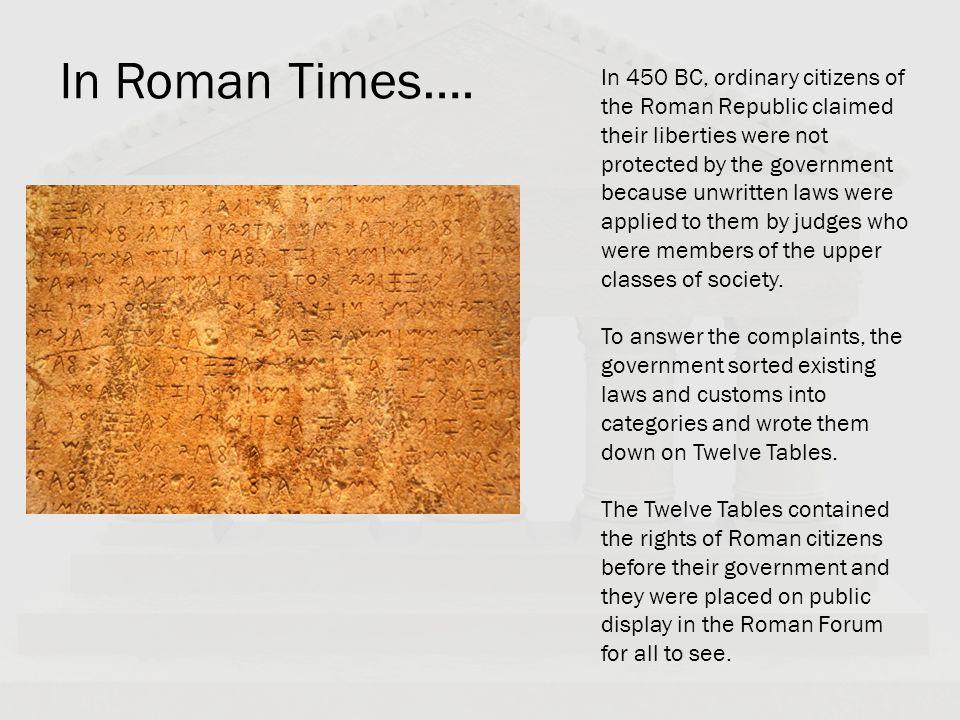 In Roman Times….