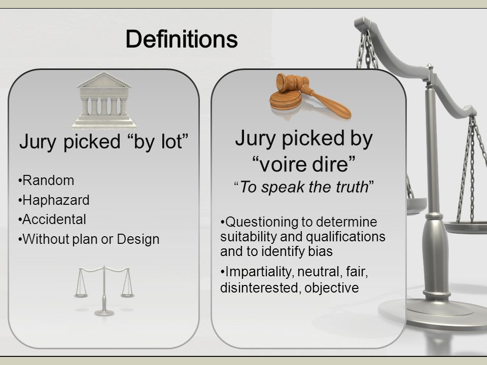 Jury picked by voire dire