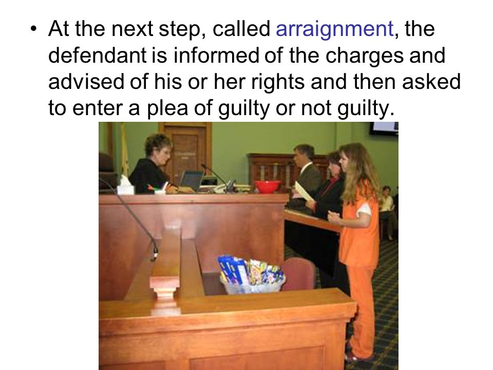 At the next step, called arraignment, the defendant is informed of the charges and advised of his or her rights and then asked to enter a plea of guilty or not guilty.