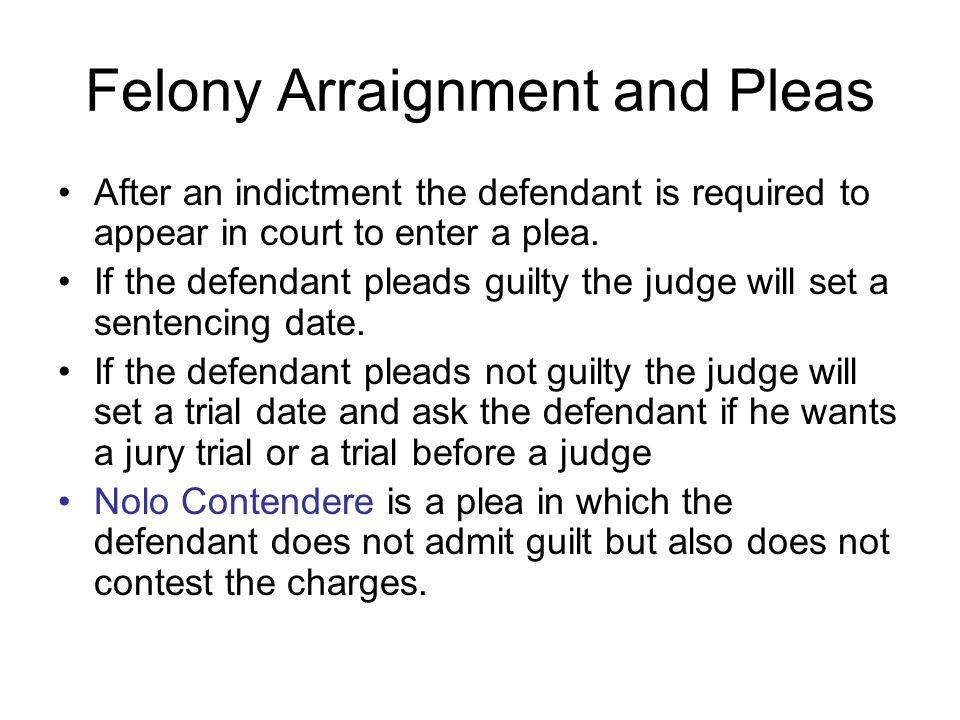 Felony Arraignment and Pleas