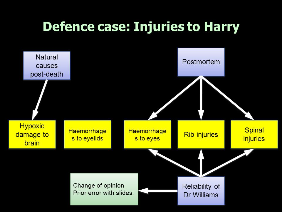 Defence case: Injuries to Harry