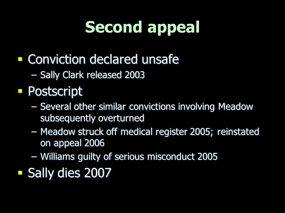 Second appeal Conviction declared unsafe Postscript Sally dies 2007