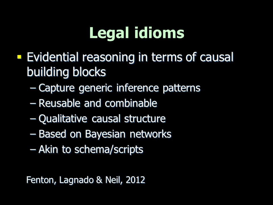 Legal idioms Evidential reasoning in terms of causal building blocks