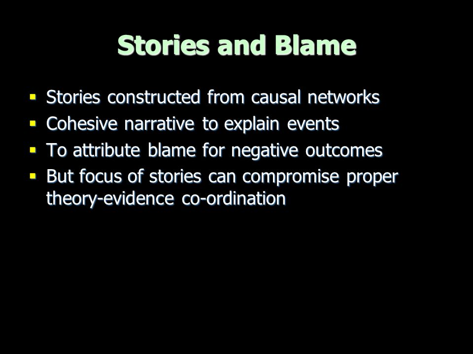 Stories and Blame Stories constructed from causal networks