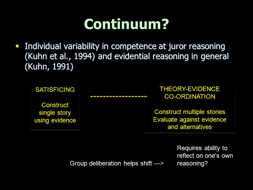Continuum Individual variability in competence at juror reasoning (Kuhn et al., 1994) and evidential reasoning in general (Kuhn, 1991)