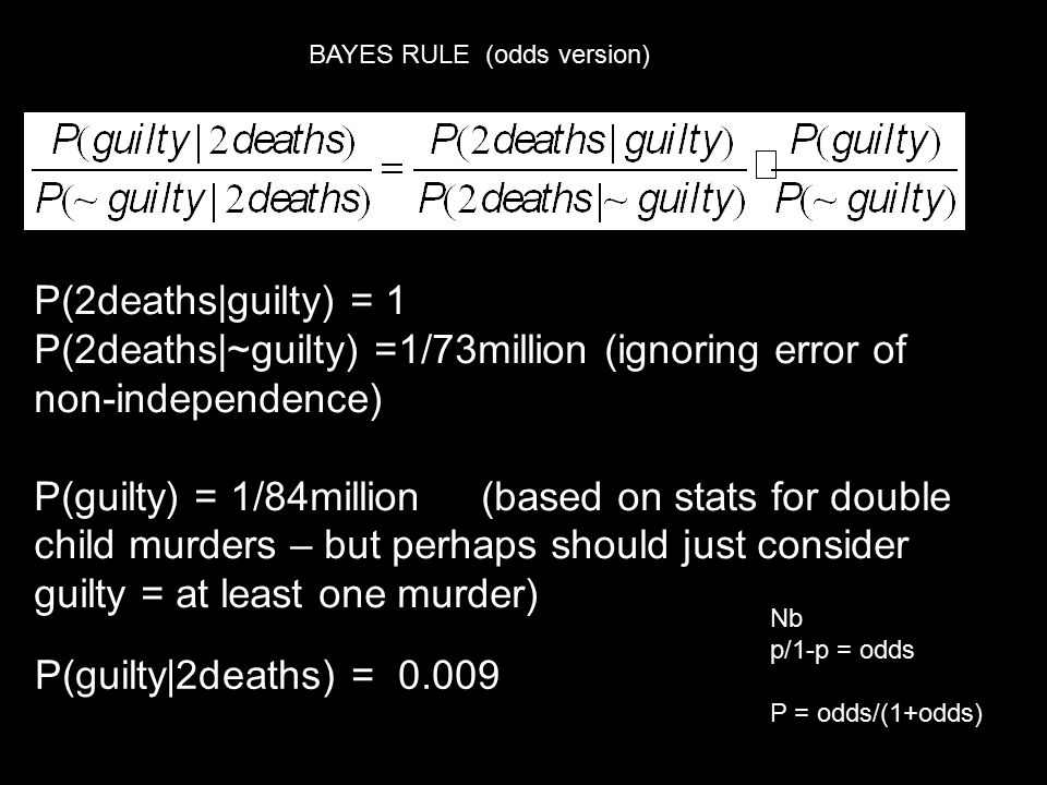 P(2deaths|~guilty) =1/73million (ignoring error of non-independence)