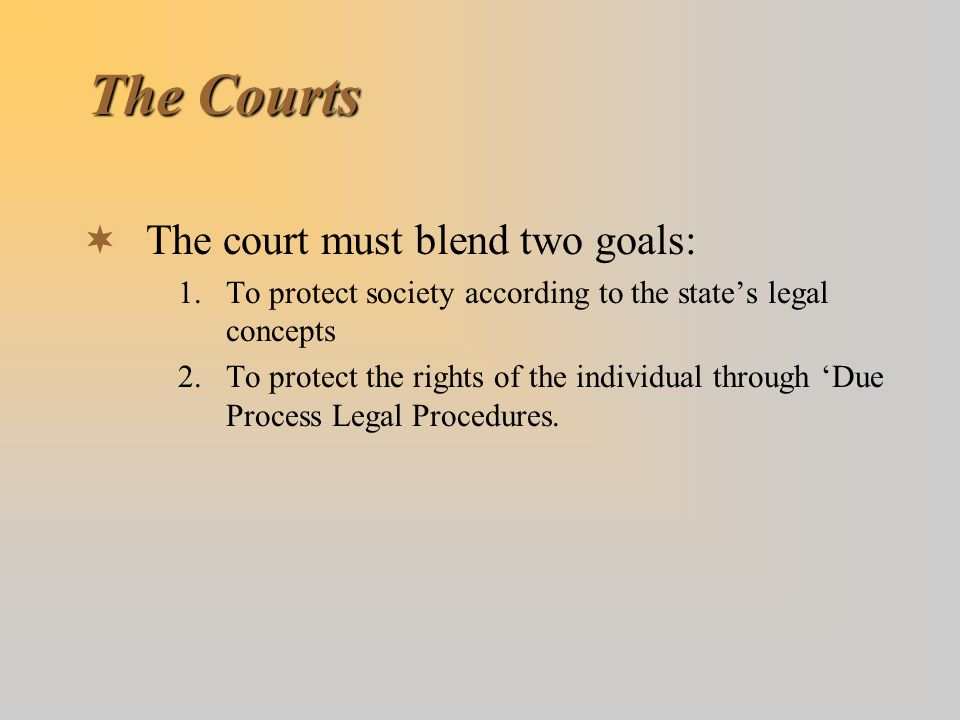 The Courts The court must blend two goals: