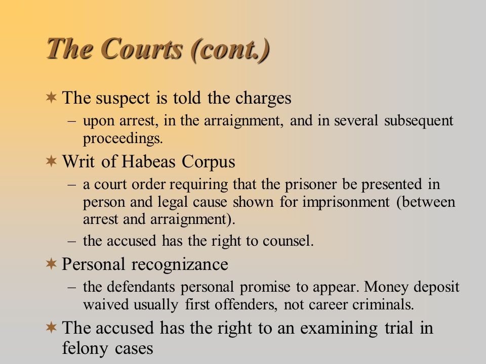The Courts (cont.) The suspect is told the charges