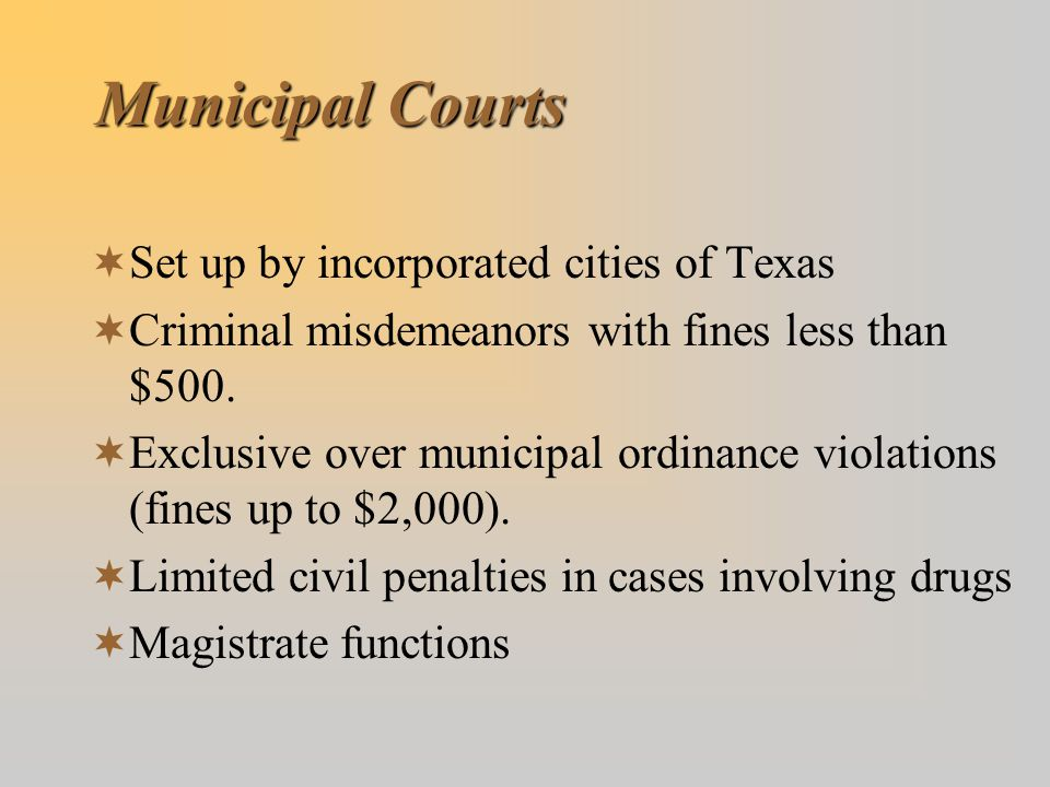 Municipal Courts Set up by incorporated cities of Texas