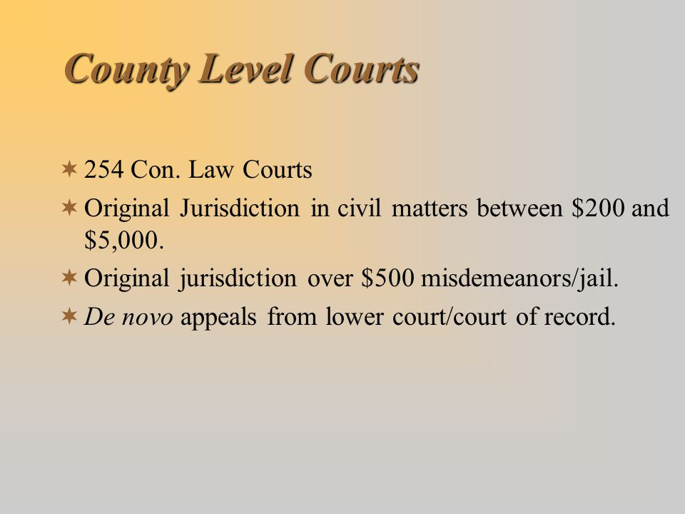 County Level Courts 254 Con. Law Courts