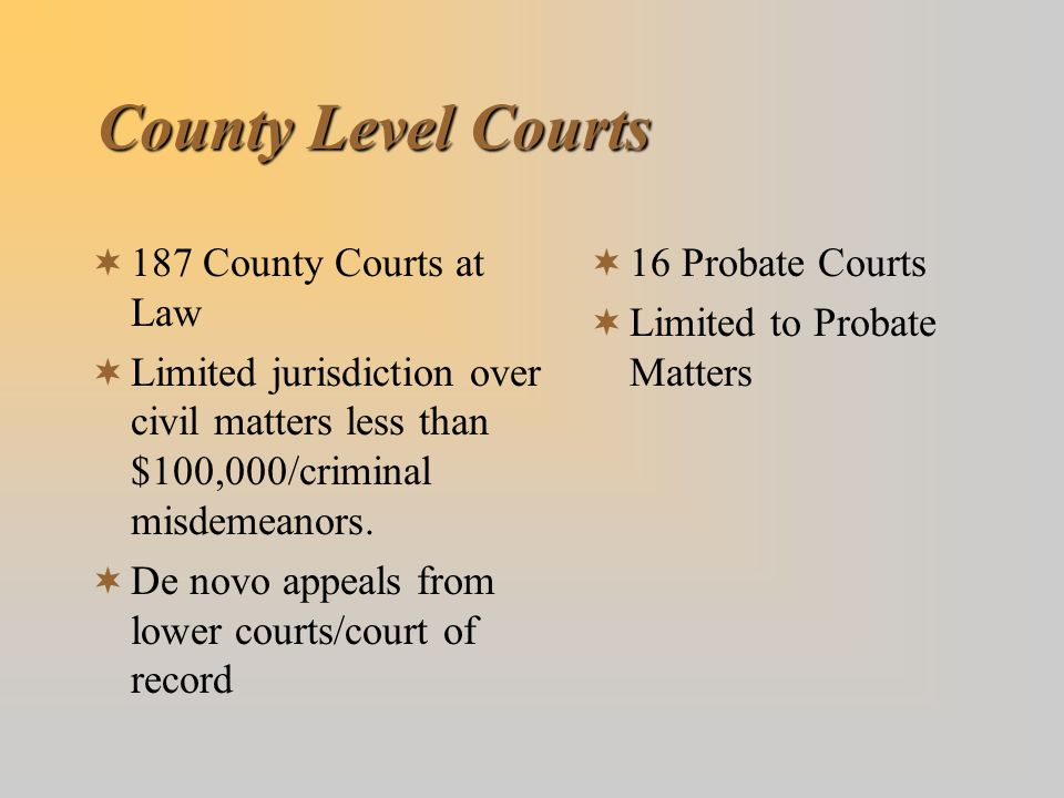 County Level Courts 187 County Courts at Law