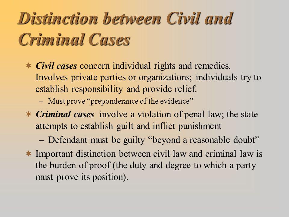 Distinction between Civil and Criminal Cases