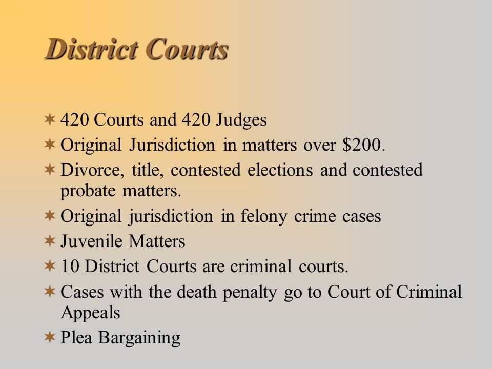 District Courts 420 Courts and 420 Judges