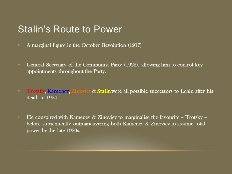 Stalin's Route to Power