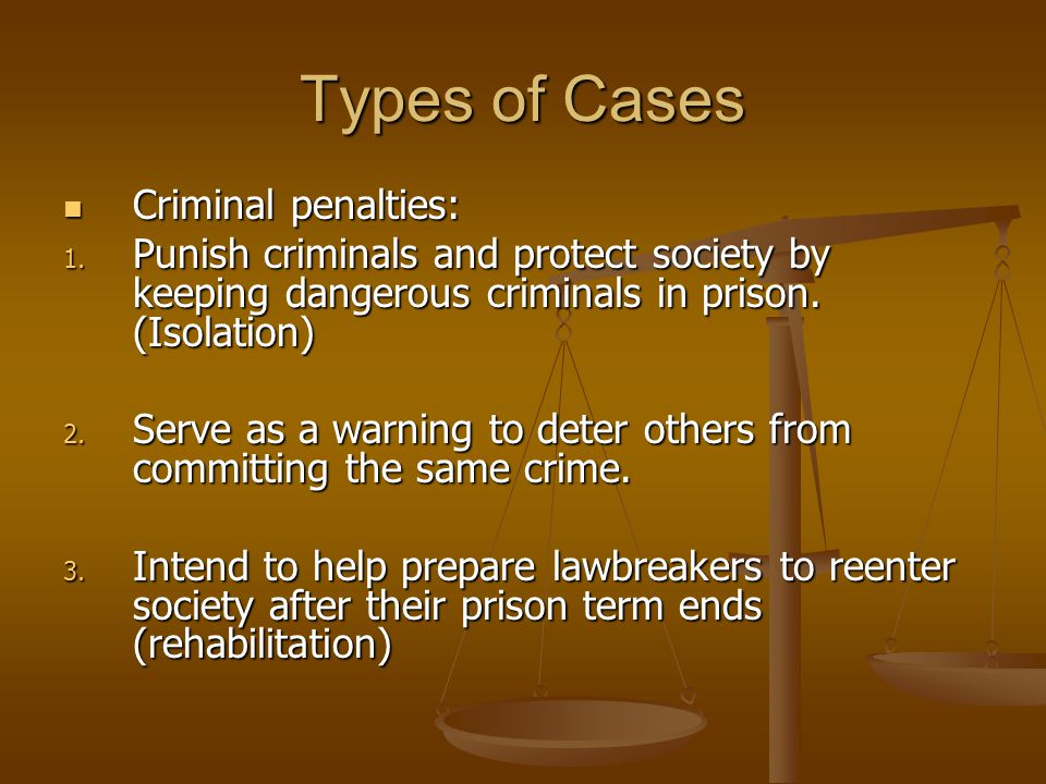 Types of Cases Criminal penalties: