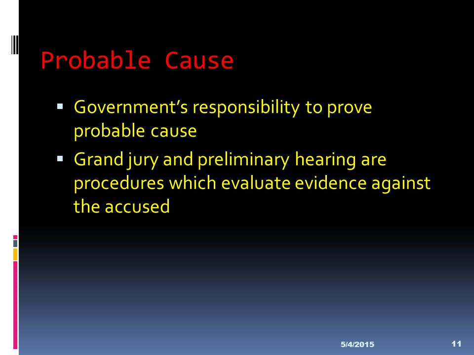 Probable Cause Government's responsibility to prove probable cause