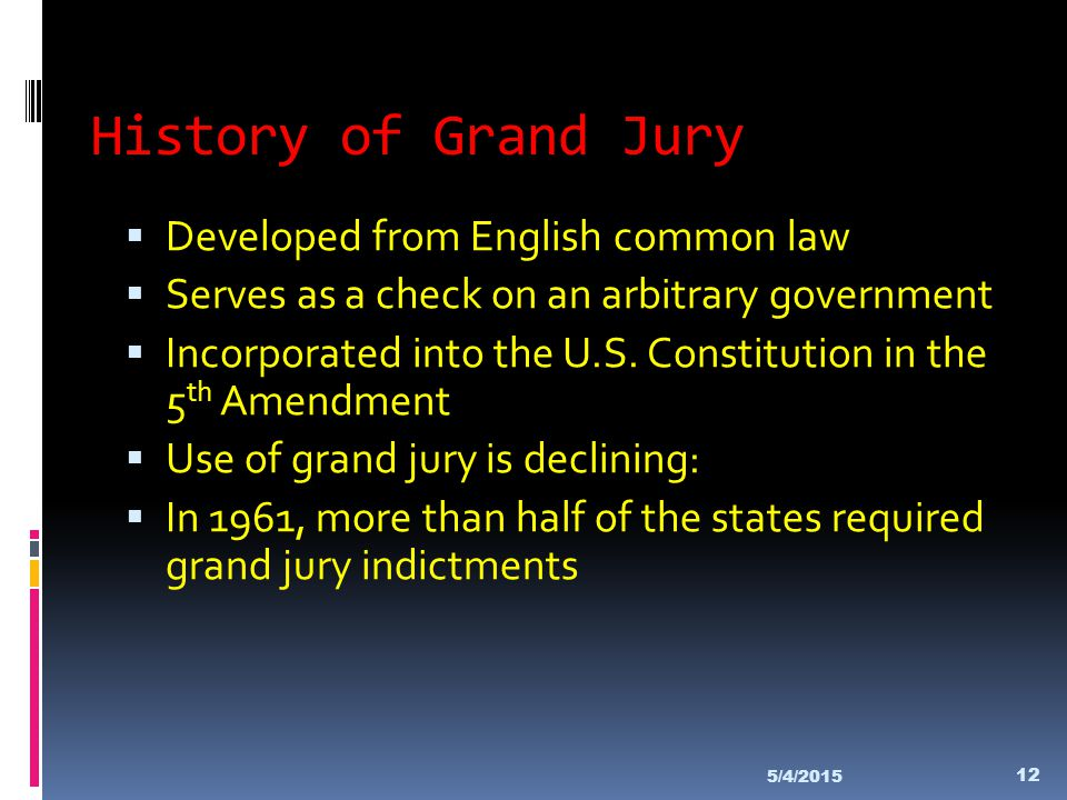 History of Grand Jury Developed from English common law