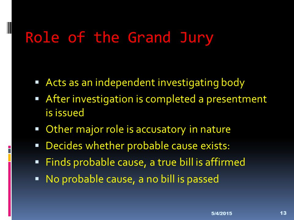 Role of the Grand Jury Acts as an independent investigating body