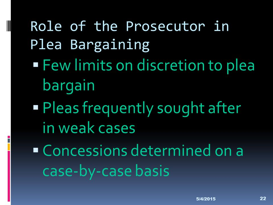 Role of the Prosecutor in Plea Bargaining