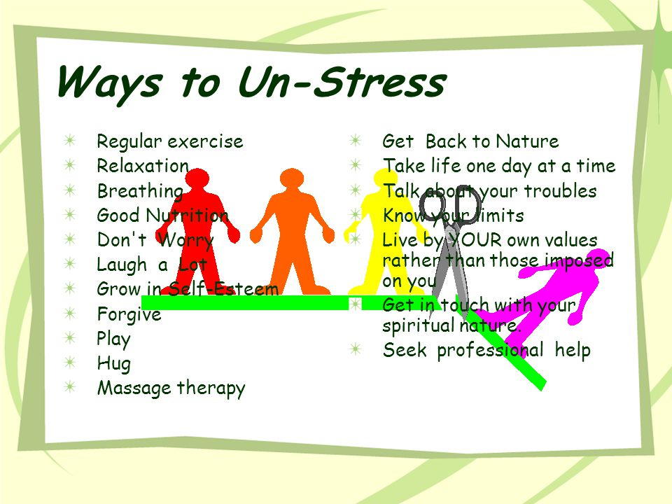 Ways to Un-Stress Regular exercise Relaxation Breathing Good Nutrition