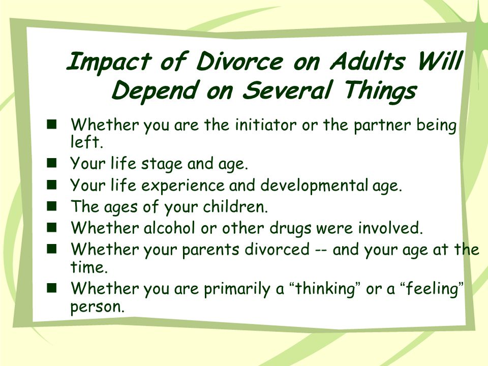 Impact of Divorce on Adults Will Depend on Several Things