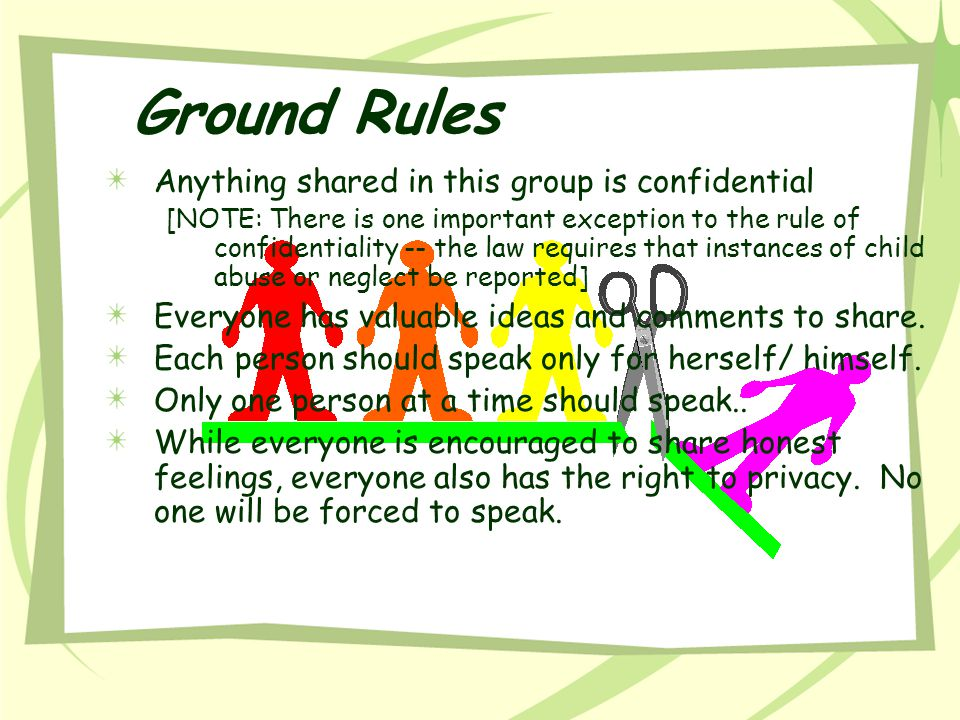 Ground Rules Anything shared in this group is confidential