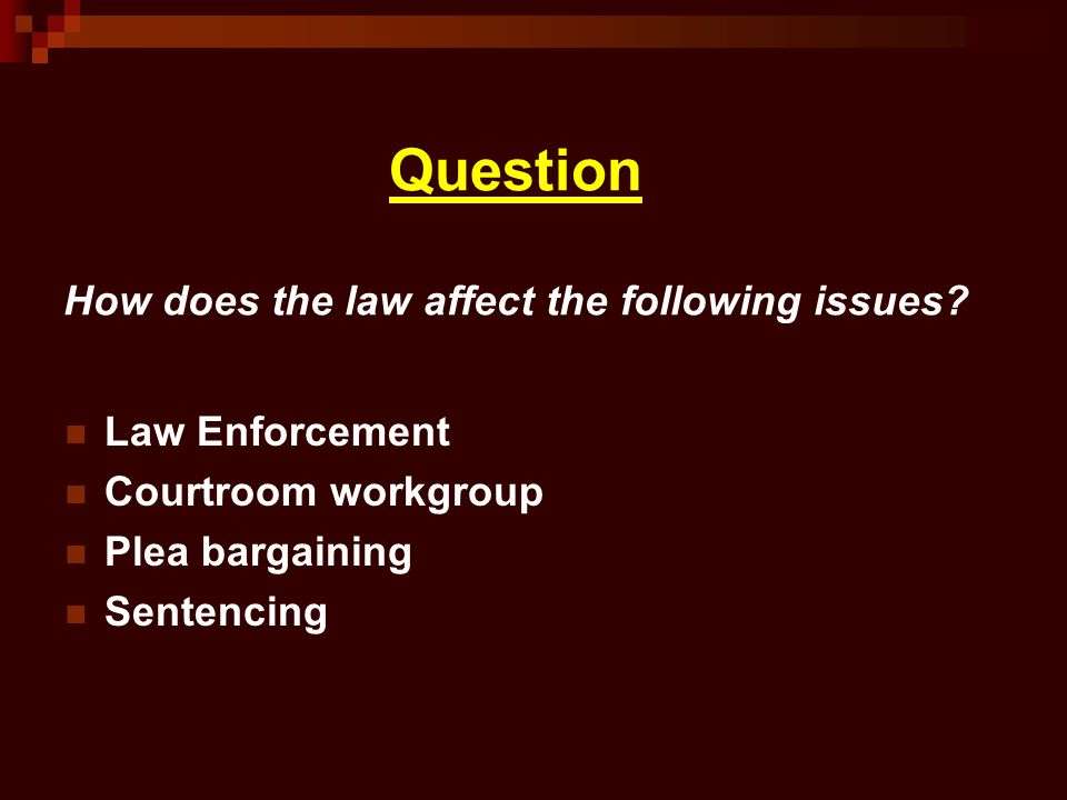 Question How does the law affect the following issues