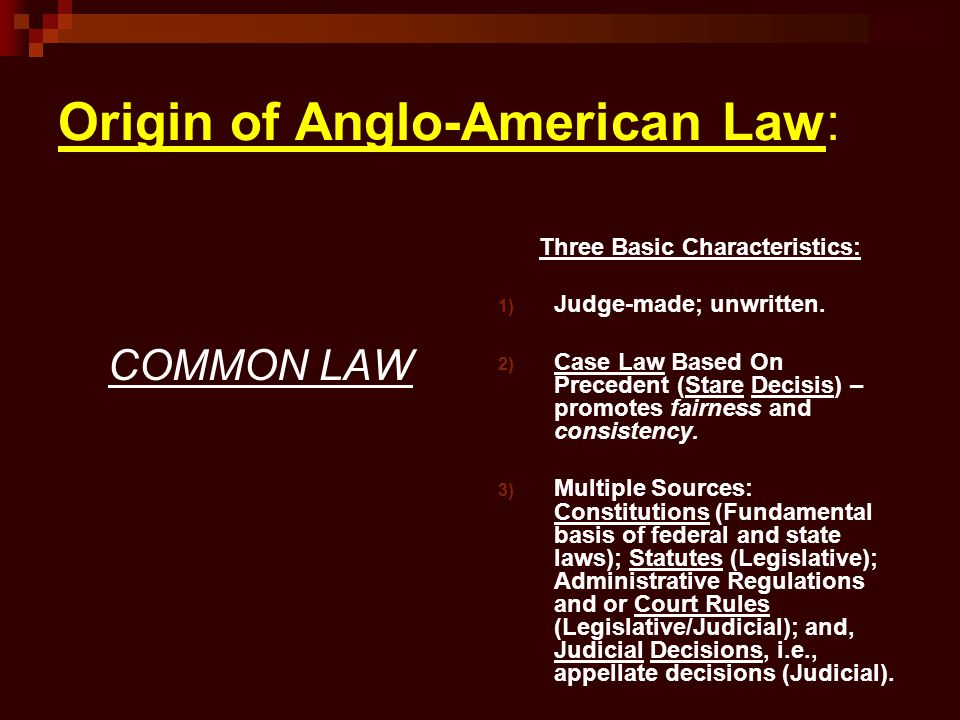 Origin of Anglo-American Law: