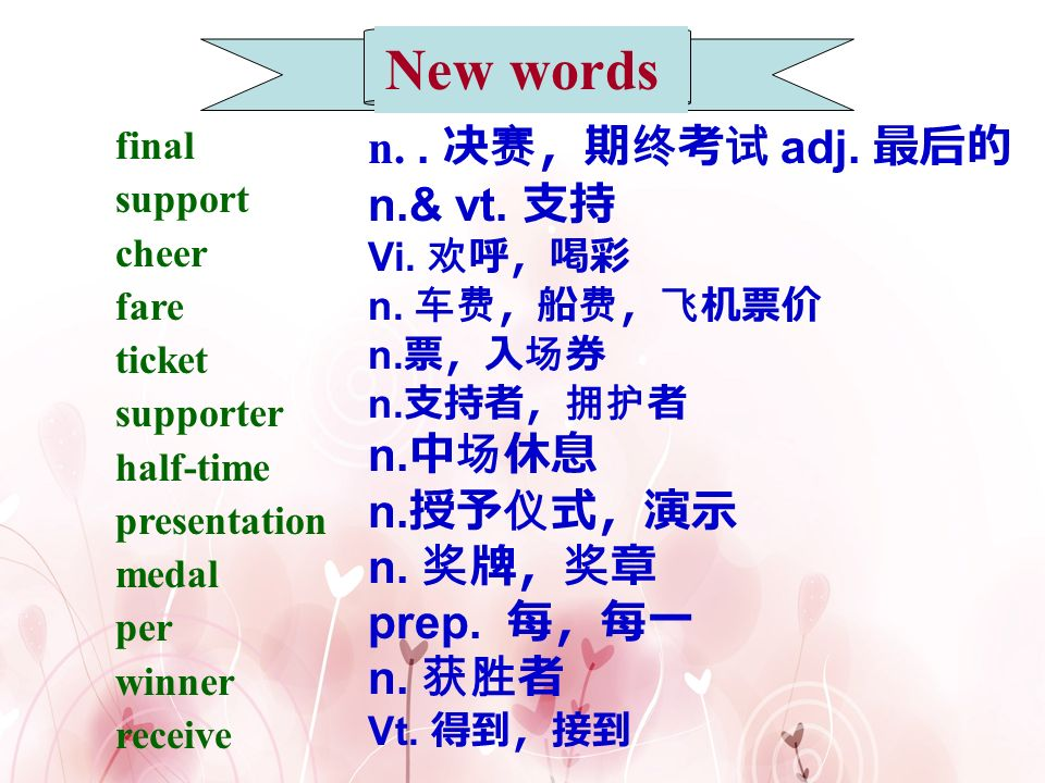 New words n. . 决赛,期终考试 adj. 最后的 n.& vt. 支持 n.中场休息 n.授予仪式,演示 n. 奖牌,奖章