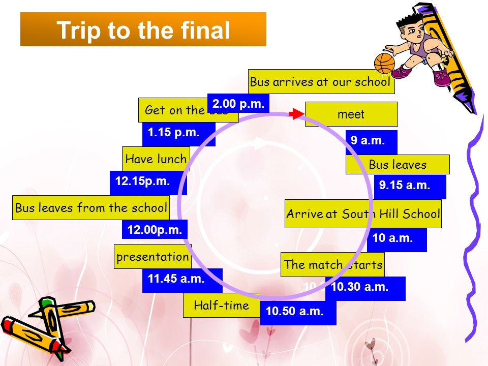 Trip to the final Bus arrives at our school 2.00 p.m. Get on the bus