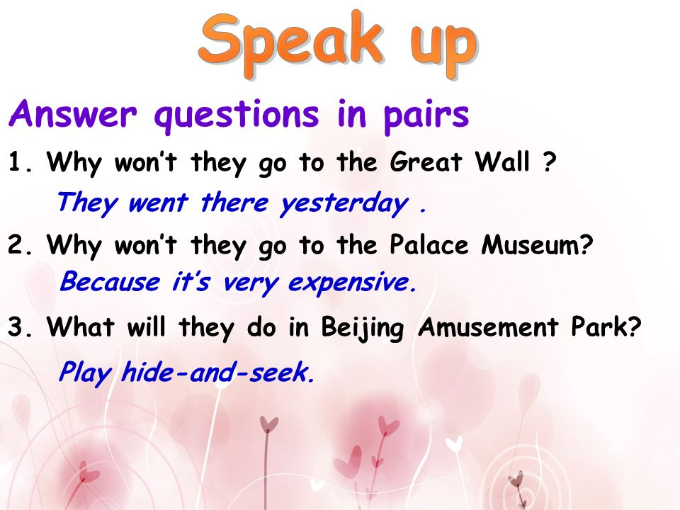 Answer questions in pairs