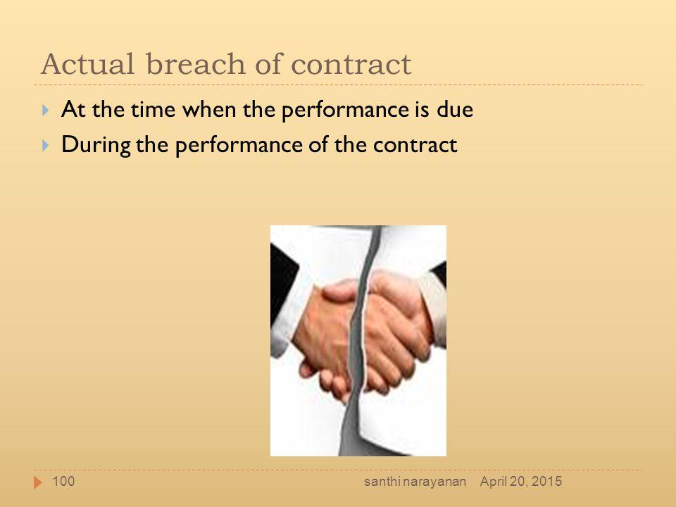 Actual breach of contract